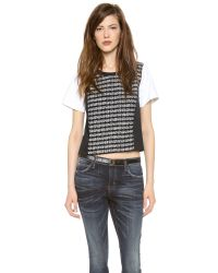 MILLY - Black Paneled Tweed Tee - Lyst