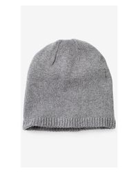 Express - Gray Marled Cotton Beanie for Men - Lyst