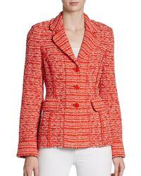 St. John - Orange Sloane Street Tweed Jacket - Lyst