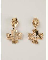 Christian Lacroix - Metallic Cross Pendant Earrings - Lyst