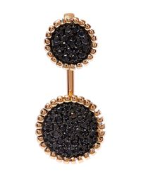 Kismet by Milka | Metallic Gold Two Disc Black Diamond Earcuff | Lyst