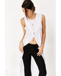 Truly Madly Deeply - White Crossover High/low Muscle Tank Top - Lyst