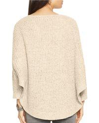 Lauren by Ralph Lauren | Natural Cotton Sweater Poncho | Lyst