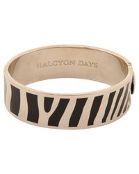Halcyon Days | Black Palladium Plated Enamel Zebra Stripe Bangle | Lyst