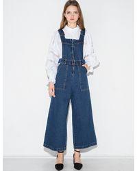Pixie Market - Blue Wide Leg Zipper Denim Overalls - Lyst