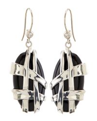 Slane - Crescent Weave Black Onyx & Diamond Earrings - Lyst