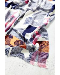 Urban Outfitters - Gray Abstract Landscape Print Blanket Scarf - Lyst