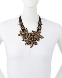 Marina Rinaldi - Black Livia Beaded Flower Necklace - Lyst