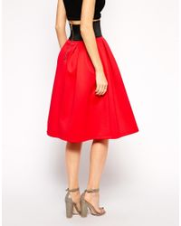 ASOS | Red Midi Skirt In Scuba With Exposed Elastic | Lyst