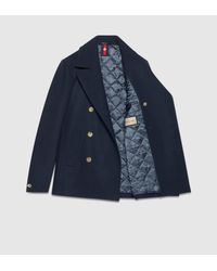 Gucci | Green Wool Pea Coat for Men | Lyst