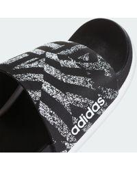 Adidas Black Adilette Cloudfoam Plus Link Slides