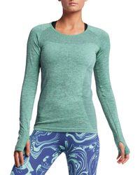 f6eedf9f541f Lyst - Nike Dri-fit Knit Long Sleeve Running Shirt in Green