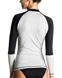 Roxy - Gray Sea Bound Long Sleeve Rash Guard - Lyst
