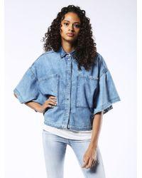 DIESEL - Blue Denim Outerwear - Lyst