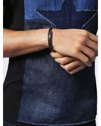 DIESEL - Black Drill Plate Bracelet for Men - Lyst