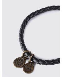 DIESEL - Black Slim Woven Bracelet With Mohawk Tag - Lyst