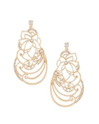 Belle By Badgley Mischka - Metallic Floral Scroll Statement Earrings - Lyst