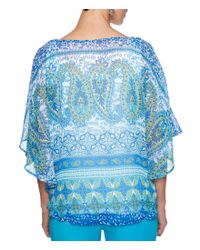 Ruby Rd - Blue Embellished Scoop Neck Printed Yoryu Butterfly Top - Lyst