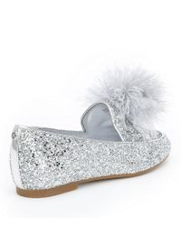 MICHAEL Michael Kors - Black Fara Glitter Pom Pom Detail Loafers - Lyst