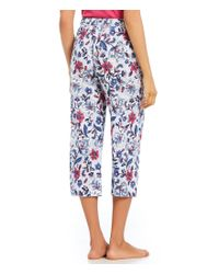 Karen Neuburger - Multicolor Floral-printed Capri Jersey Sleep Pants - Lyst