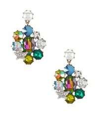 Betsey Johnson - Multicolor Faux-pearl & Stone Clip-on Drop Earrings - Lyst