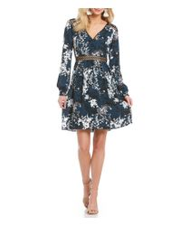 Sam Edelman - Blue V-neck Floral Print Cutout Waist Dress - Lyst