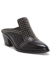 1.STATE - White Lon Leather Pin Dot Stud Block Heel Mules - Lyst