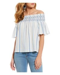 1.STATE - Blue Smocked Off The Shoulder Bell Sleeve Stripe Top - Lyst