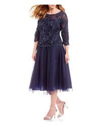 Alex Evenings - Blue Plus Size Illusion Embroidered Bodice Mock 2-piece Gown - Lyst