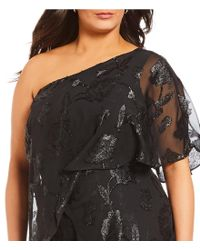 Adrianna Papell - Black Plus Size Floral Chiffon One Shoulder Jumpsuit - Lyst