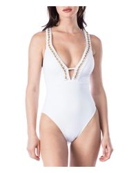Kenneth Cole - White Chain Reaction Plunge Tummy Toner One-piece Swimsuit - Lyst