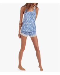 Lucky Brand | Blue Lace-trimmed Floral Jersey Racerback Pajamas | Lyst