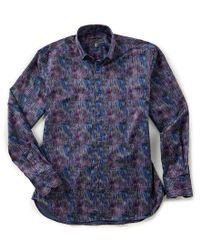Visconti - Blue Hologram Long-sleeve Woven Shirt for Men - Lyst