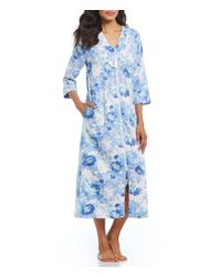 Miss Elaine - Blue Petite Floral-print Sateen Zip-front Long Robe - Lyst