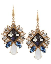 Belle By Badgley Mischka - Metallic Deco Mother-of-pearl Drop Statement Earrings - Lyst