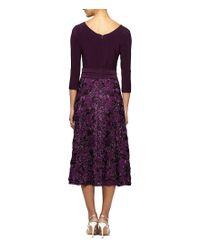 Alex Evenings - Purple Rosette Tea Length Dress - Lyst