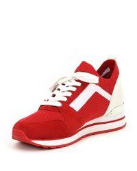 MICHAEL Michael Kors - Red Billie Knit Trainer Suede Sneakers - Lyst