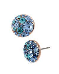 Betsey Johnson - Blue Crystal Stud Earrings - Lyst