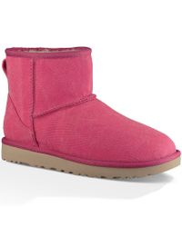 Ugg - Pink ® Classic Mini Canvas Stone Washed Canvas Pull-on Booties - Lyst