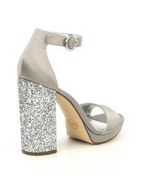 MICHAEL Michael Kors - Metallic Erika Satin Glitter Block Heel Dress Sandals - Lyst