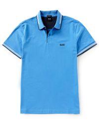 BOSS - Red Boss Paul Slim-fit Stretch Short-sleeve Polo Shirt for Men - Lyst