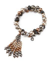Anne Klein - Metallic Faux-pearl Double-row Tassel Bracelet - Lyst