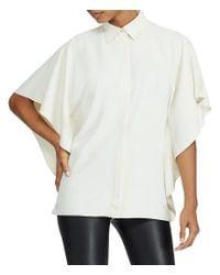 Lauren by Ralph Lauren - White Petite Draped Button-up Top - Lyst