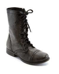 Steve Madden - Brown Troopa Military-inspired Zipper Lace Up Leather Combat Boots - Lyst