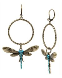 Betsey Johnson - Metallic Pavé Dragonfly Hoop Earrings - Lyst