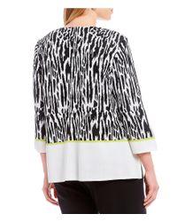 Ming Wang - Black Plus Size Jewel Neck Animal Print Jacket - Lyst