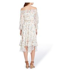 Tahari - Multicolor Off-the-shoulder Tiered Bell Sleeve Floral Print Handkerchief Hem Midi Dress - Lyst