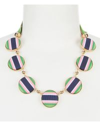 Kate Spade - Blue Stripe Circle Statement Necklace - Lyst