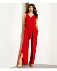 Antonio Melani - Red Fitz Light Weight Crepe Split Leg Belted Jumpsuit - Lyst