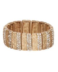 Belle By Badgley Mischka - Metallic Textured Bar Stretch Bracelet - Lyst